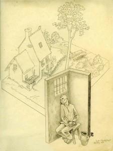 Diese Bleistiftzeichnung hat der Kölner Maler Peter Josef Paffenholz im März 1933 in Gestapohaft angefertigt